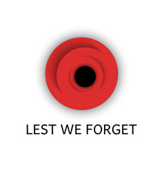 Red poppy flower with text lest we forget vector