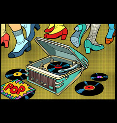 Retro dancing gramophone vector