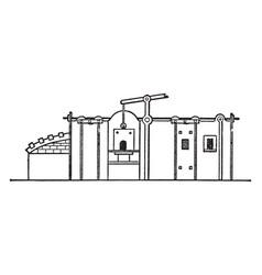 Reverberatory furnace vintage vector