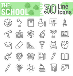 school line icon set education symbols collection vector image