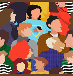 seamless pattern of people crowd vector image