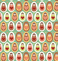 Seamless pattern Russian dolls matryoshka mint vector image