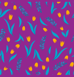 seamless pattern with tulip on violet vector image