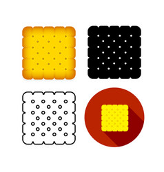 Set biskut cracker icon art vector