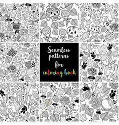 Set of black and white seamless patterns for vector