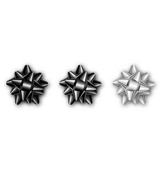 set of realistic black silver and white bow vector image
