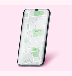 Smartphone layout mockup with map vector