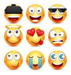 smiley set with 3d glassessmiling emoticon vector image