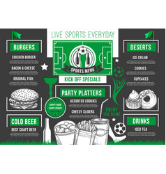 Soccer bar football beer pub meals menu vector