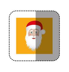 Sticker ochre square frame with christmas santa vector