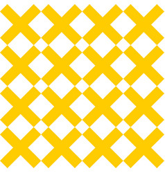 tile cross plus yellow and white pattern vector image