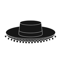 Traditional spanish hat icon in black style vector