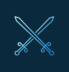 two crossed swords colored outline icon vector image