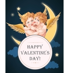 Vintage card with embracing angels vector image