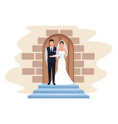 Wedding couple in chapel door vector