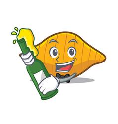 With beer conchiglie pasta mascot cartoon vector