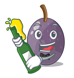 With beer velvet tamarind fruit isolated on mascot vector