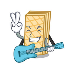 With guitar waffle mascot cartoon style vector