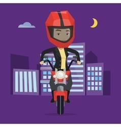 Woman riding motorcycle at night vector