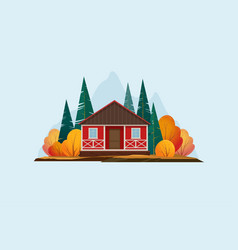 Wooden house in forest vector