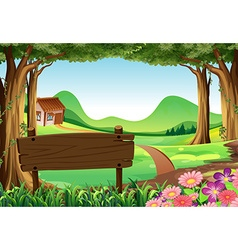 Wooden sign and countryside scene background vector image