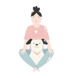 Young girl sitting with her dog best friends vector