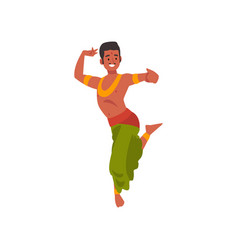 young man performing folk dance smiling indian vector image