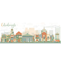 Abstract Edinburgh Skyline with Color Buildings vector image