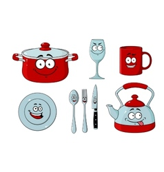 Cartoon dishware and kitchenware set vector image vector image