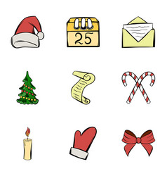 holiday icons set cartoon style vector image vector image