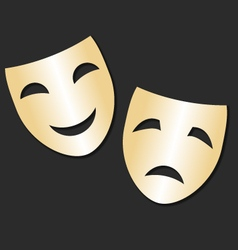 Isolated theater gold cheerful and sad mask vector