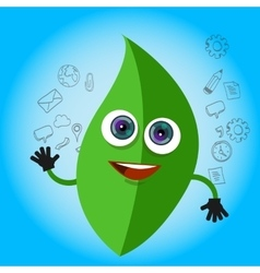 leaf smile cartoon character green eco big eyes vector image vector image