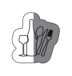 silhouette wine bottle glass and cutlery icon vector image vector image