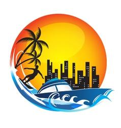Travel Fun logo vector image