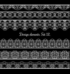 floral border set frame elements for vector image vector image