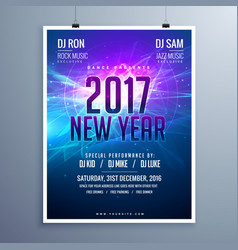 Happy new year 2017 flyer layout template with vector