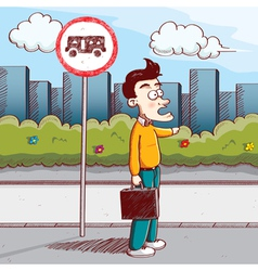 man stop the bus vector image vector image