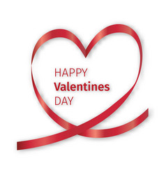 red ribbon heart valentine vector image vector image