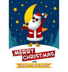 rock-n-roll santa singing santa claus - rock star vector image vector image
