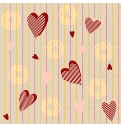 Seamless pattern with striped hearts vector image vector image