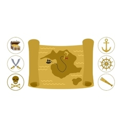 Treasure map flat vector image