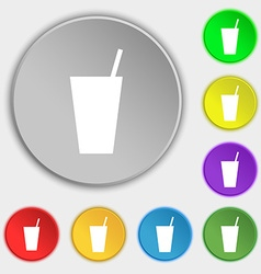 cocktail icon sign Symbol on five flat buttons vector image