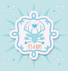 cute blue its a boy deer emblem sticker card vector image vector image