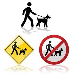 Dog on a leash vector image vector image