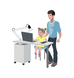 father watching girl doing homework vector image