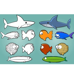Fish Cartoon Set vector image vector image