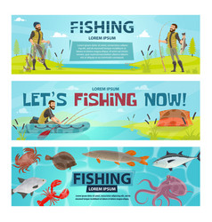fisherman sport fishing banners vector image