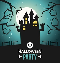 Halloween with Castle and Text Halloween Party vector image