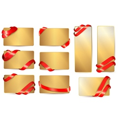 Set of gold business cards with red ribbons vector image vector image