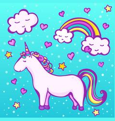 sweet unicorn on a blue background vector image